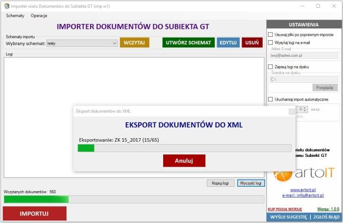 przykład eksportu dokumentów z Subiekta do XML