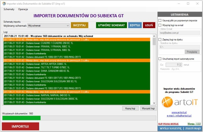 okno programu Subiekt GT Import wielu dokumentów