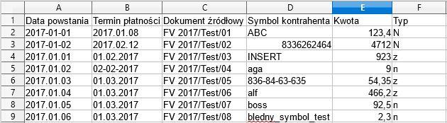 schemat pliku importu rozrachunków