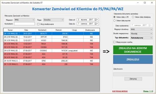 główne okno programu Subiekt GT Konwerter ZK do FS