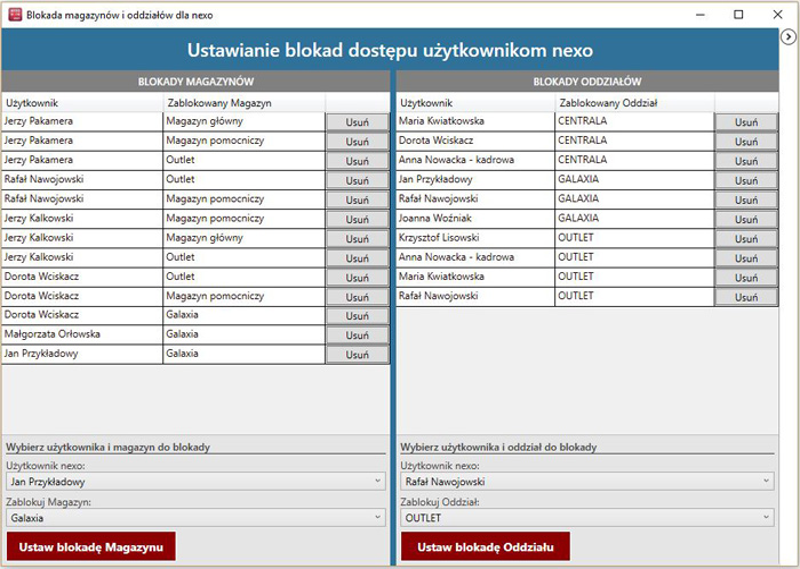 okno programu Subiekt nexo blokada magazynów i oddziałów