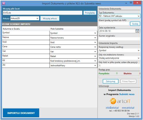 główne okno programu Subiekt Nexo Import XLS - dokumentu