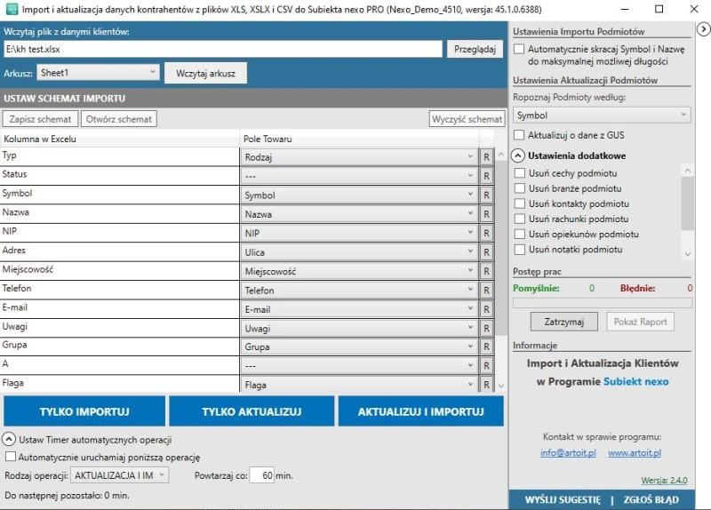 główne okno programu Subiekt Nexo Import XLS - kontrahenci