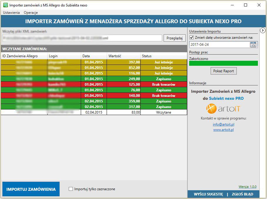 okno programu Subiekt nexo Import Zamówień z MS Allegro