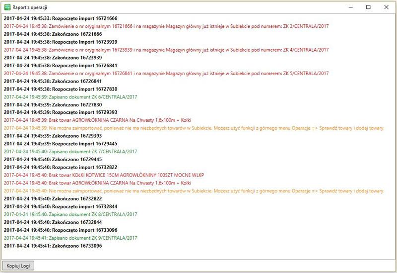 okno raportu programu Subiekt nexo Import Zamówień z MS Allegro