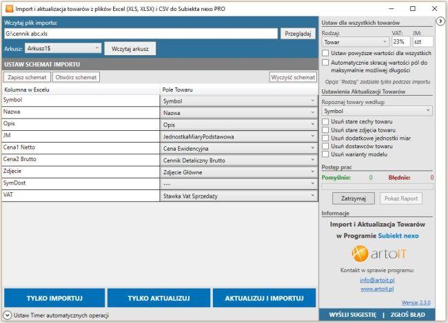 główne okno programu Subiekt Nexo Import XLS - Towary
