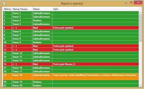 okno raportu programu Subiekt nexo Import XLS - Towary