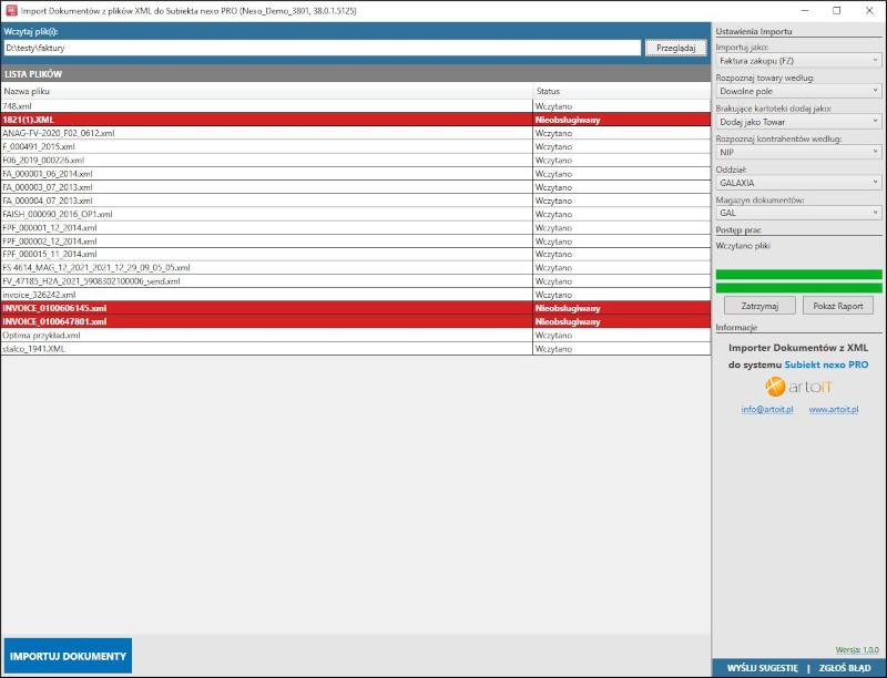 główne okno programu Subiekt nexo Import faktur z XML