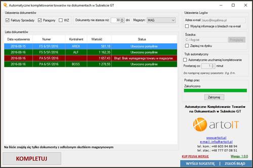 okno programu Subiekt GT Import Automatyczne kompletowanie po kompletowaniu