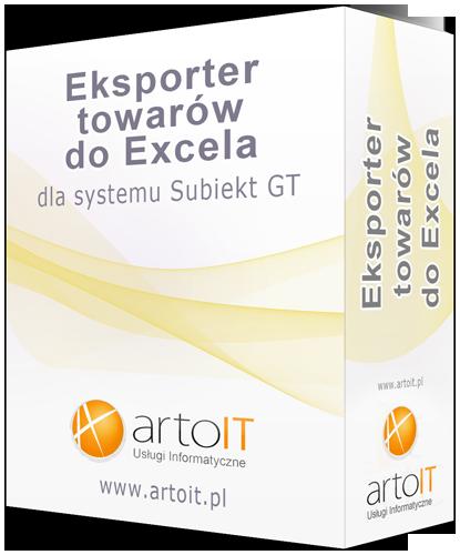 pudełko dodatku Subiekt GT - eksporter towarów