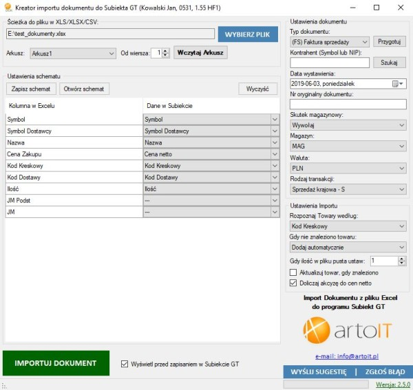 główne okno programu Subiekt GT Import XLS Dokumenty