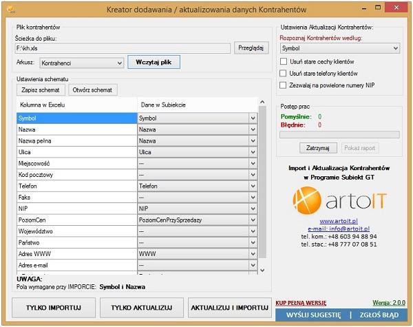 główne okno programu Subiekt GT Import XLS Kontrahenci